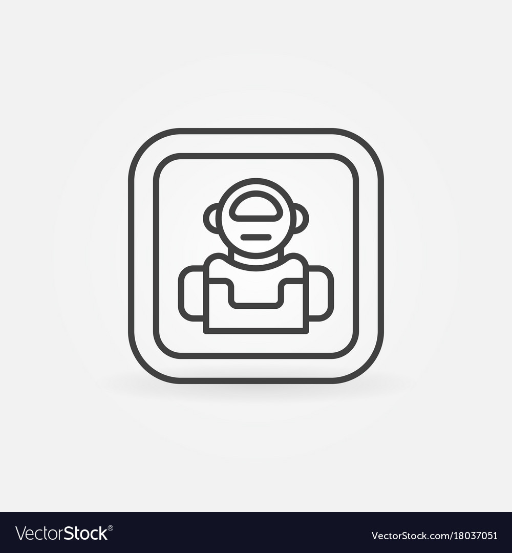 Robot minimal icon in thin line style vector image