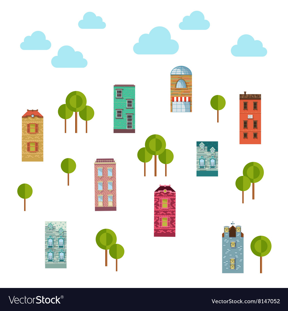 Isolated urban objects of community vector image