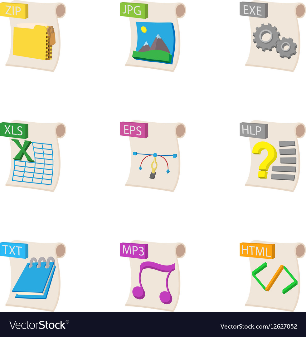 Types of files icons set cartoon style vector image