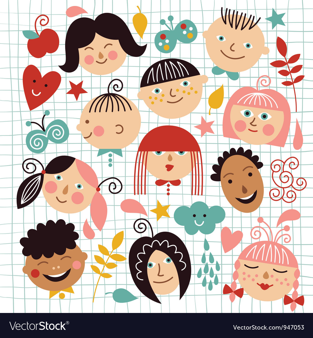 Set of funny kids vector image