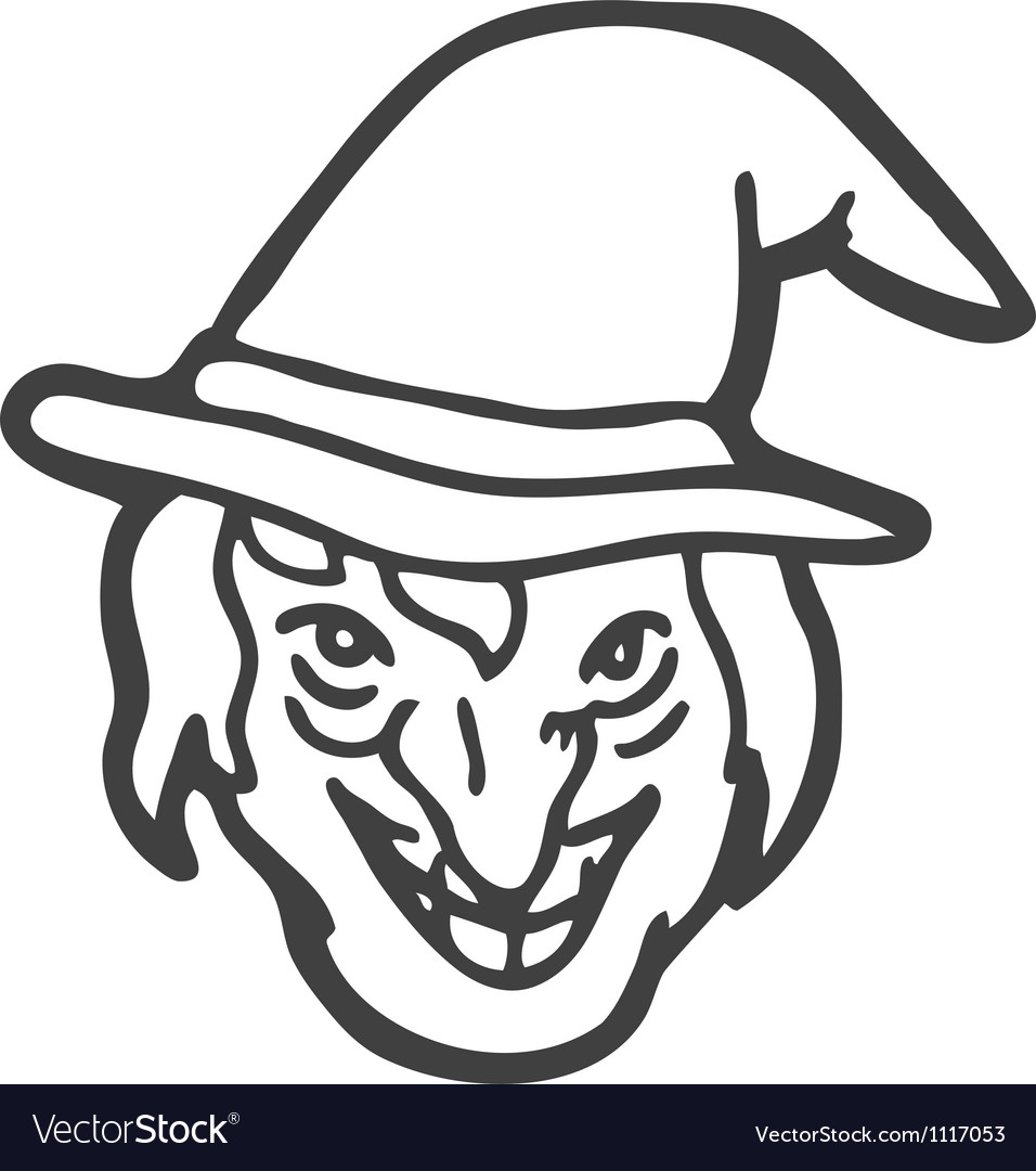 Witch face doodle vector image