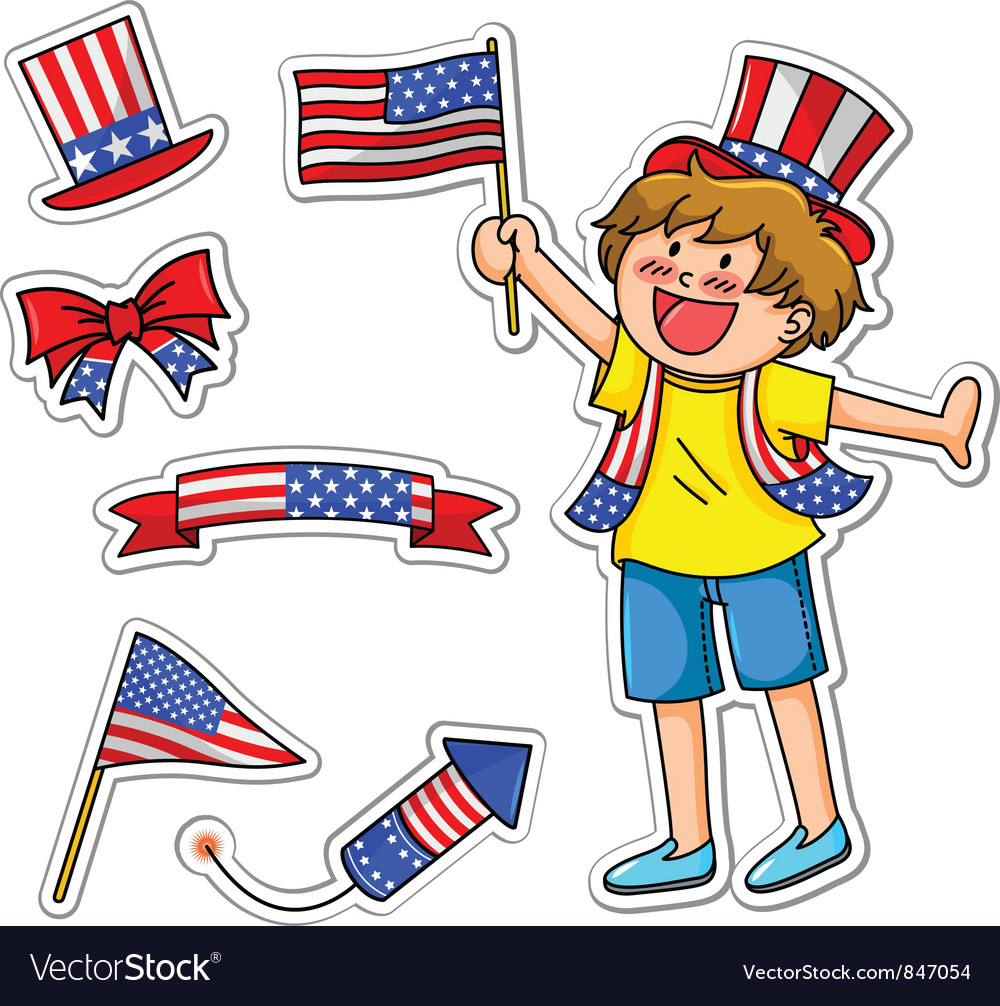 Fourth of july set vector image