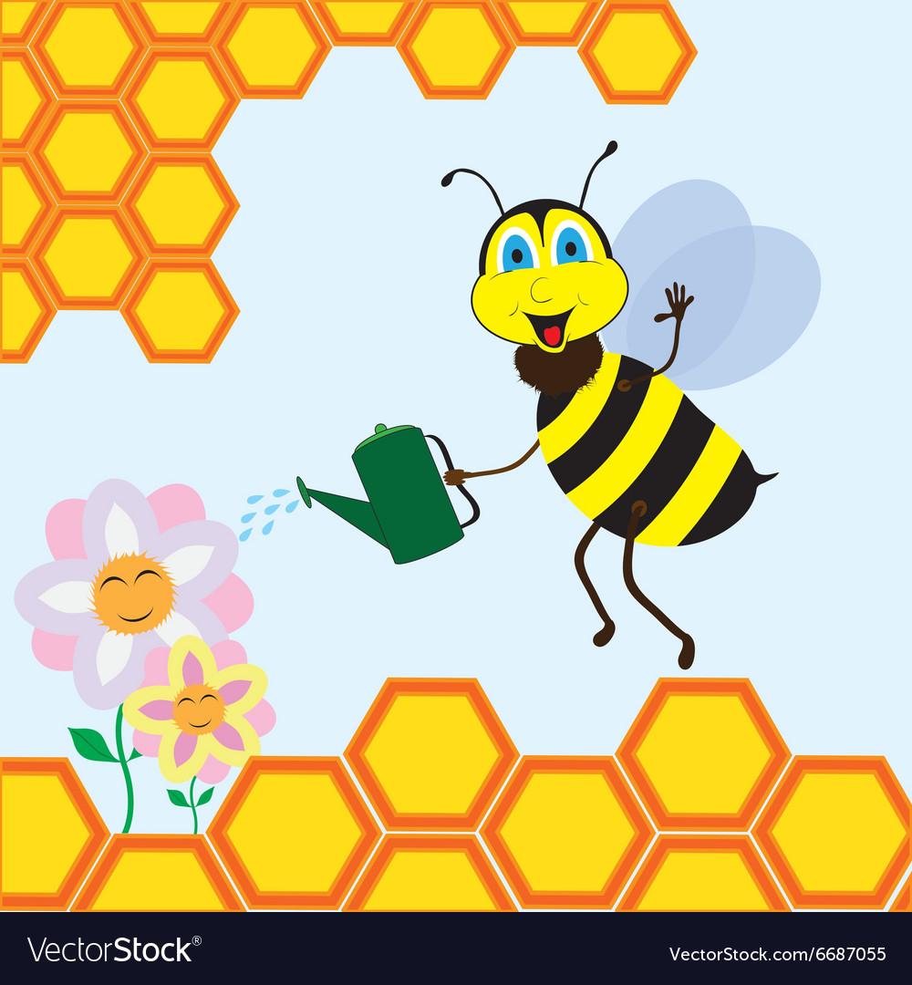 Bee watering the flowers vector image