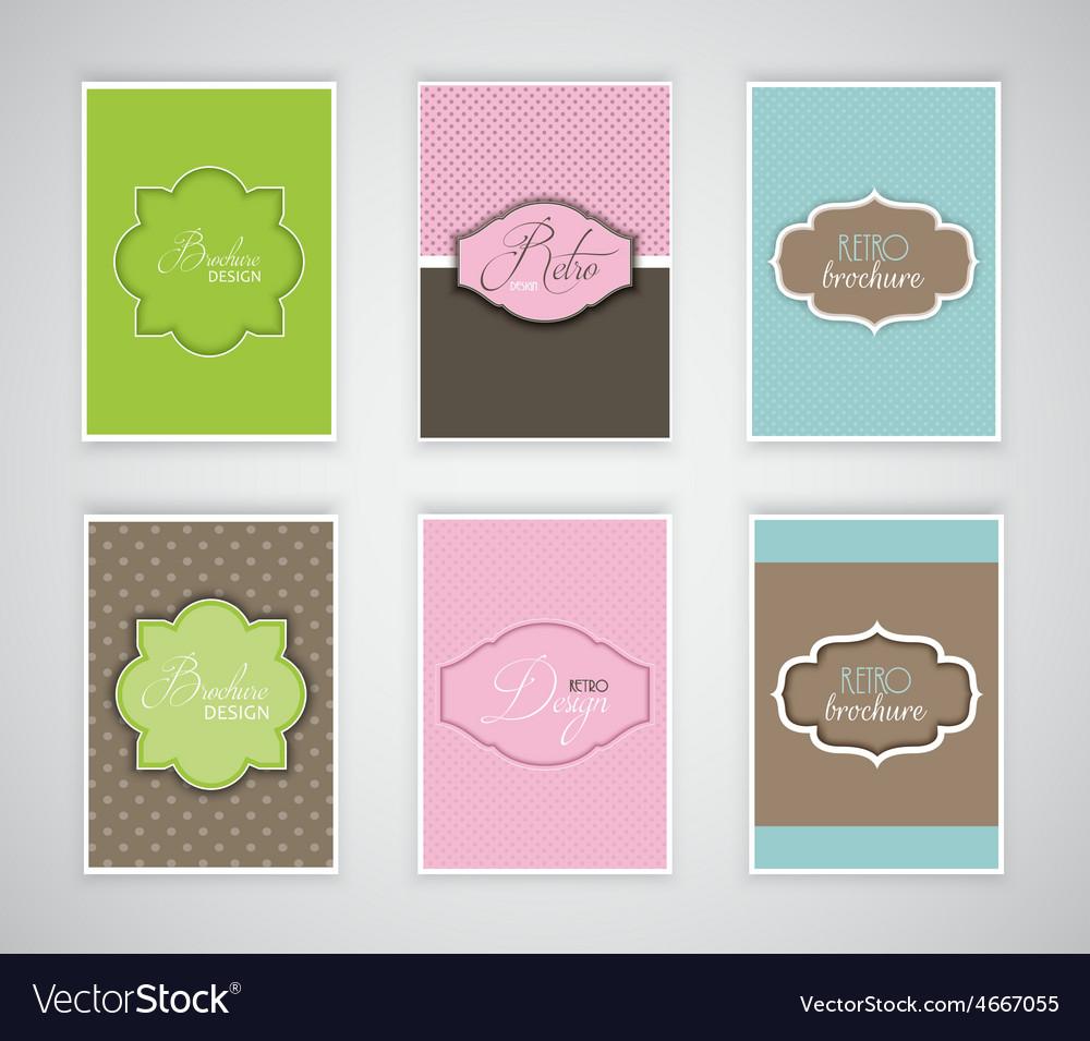 Brochure or flyer templates with retro design vector image