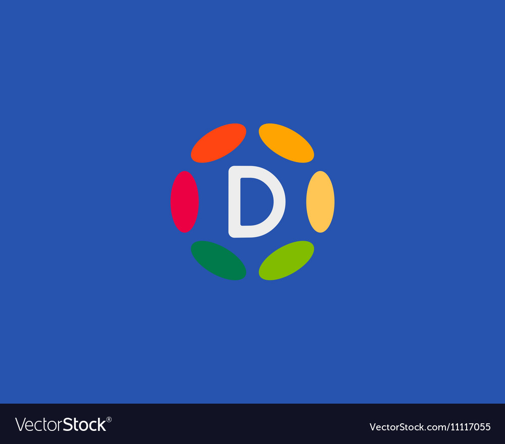 Color letter D logo icon design Hub frame vector image