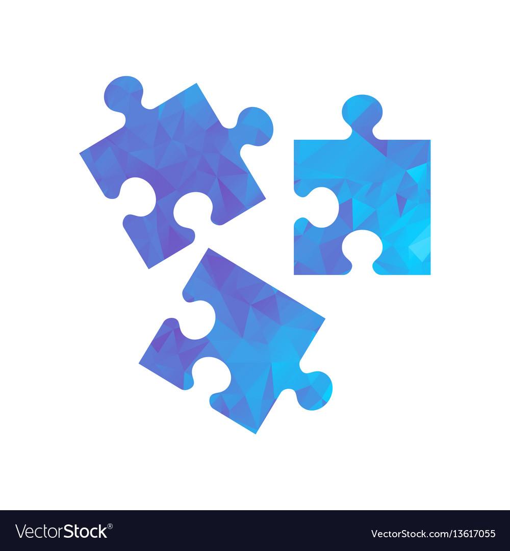 Polygon blue icon puzzle vector image