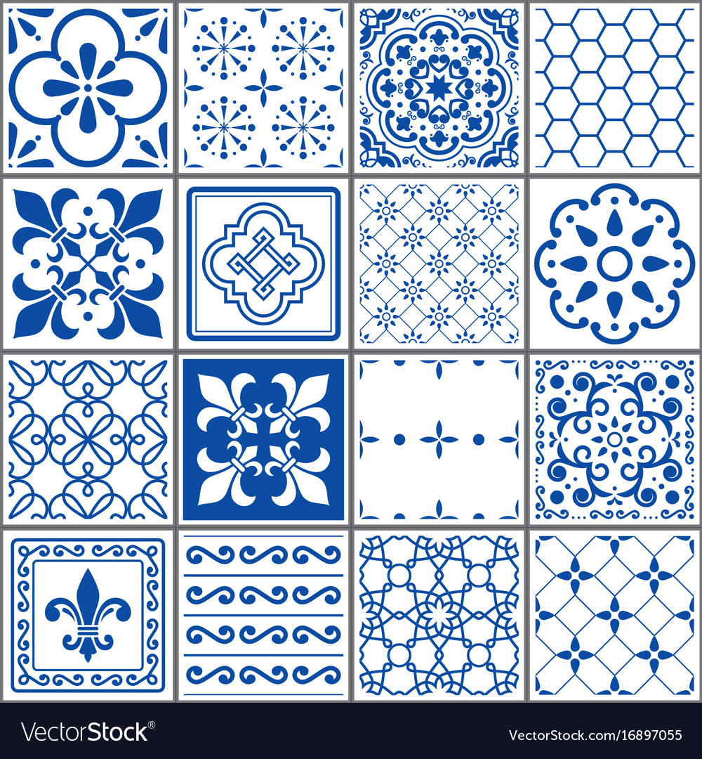 Portuguese tiles pattern lisbon indigo design Vector Image
