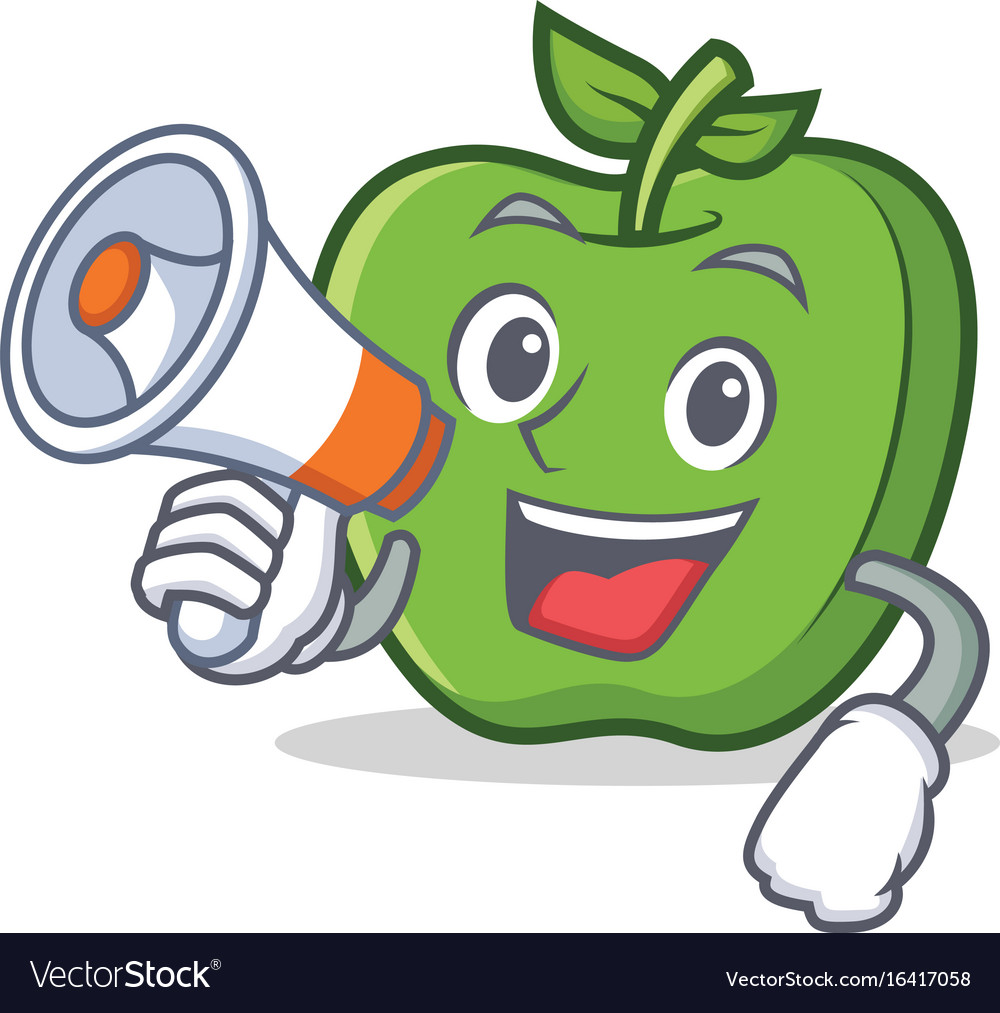 Green apple character cartoon with megaphone vector image