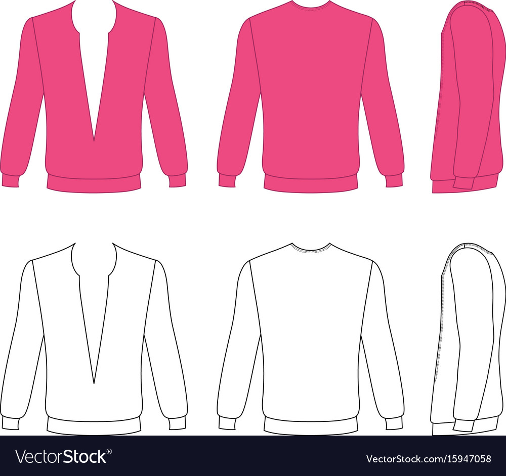 Long sleeve t-shirt outlined template vector image