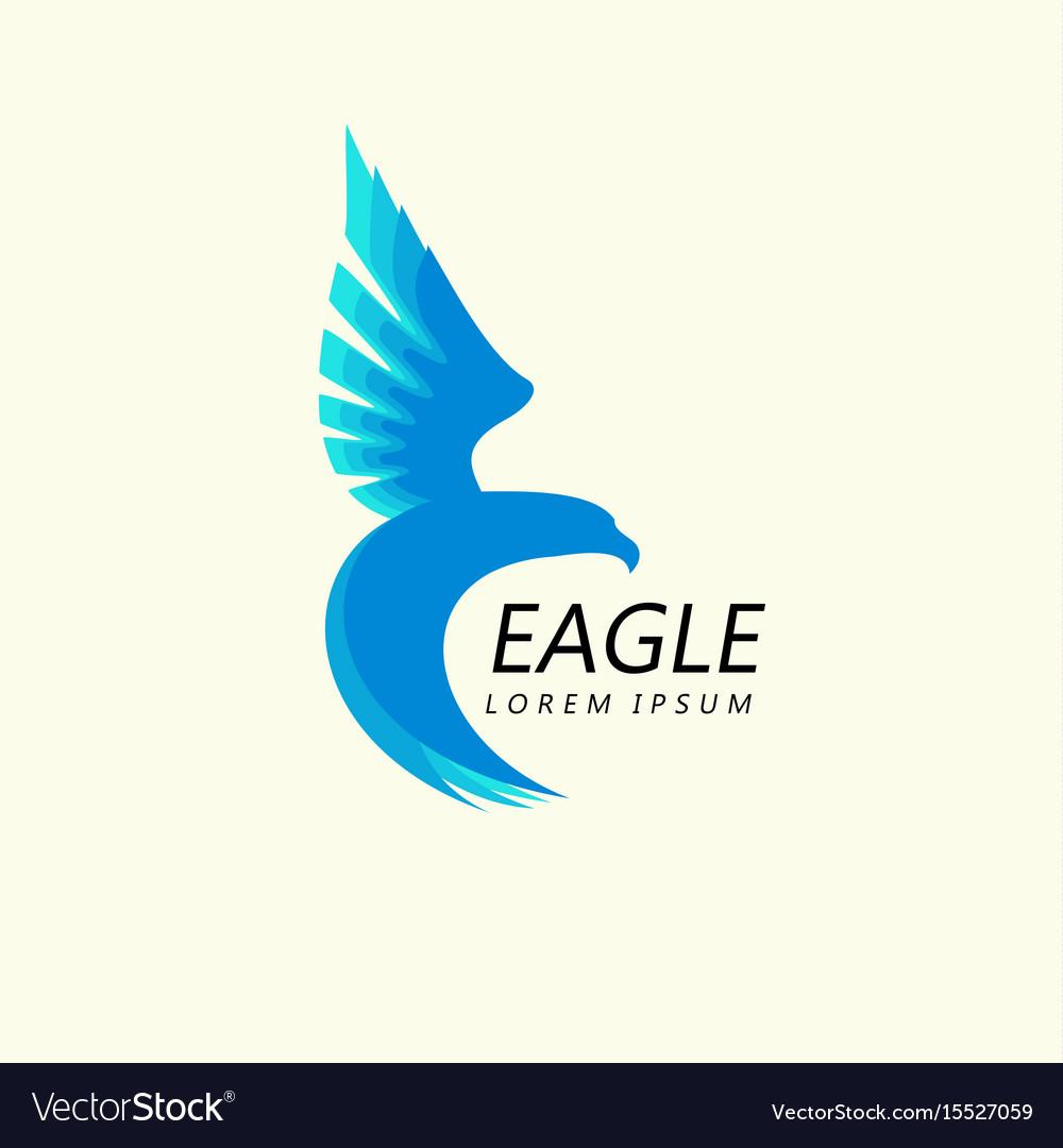Blue eagle attacking flight trendy minimalistic vector image