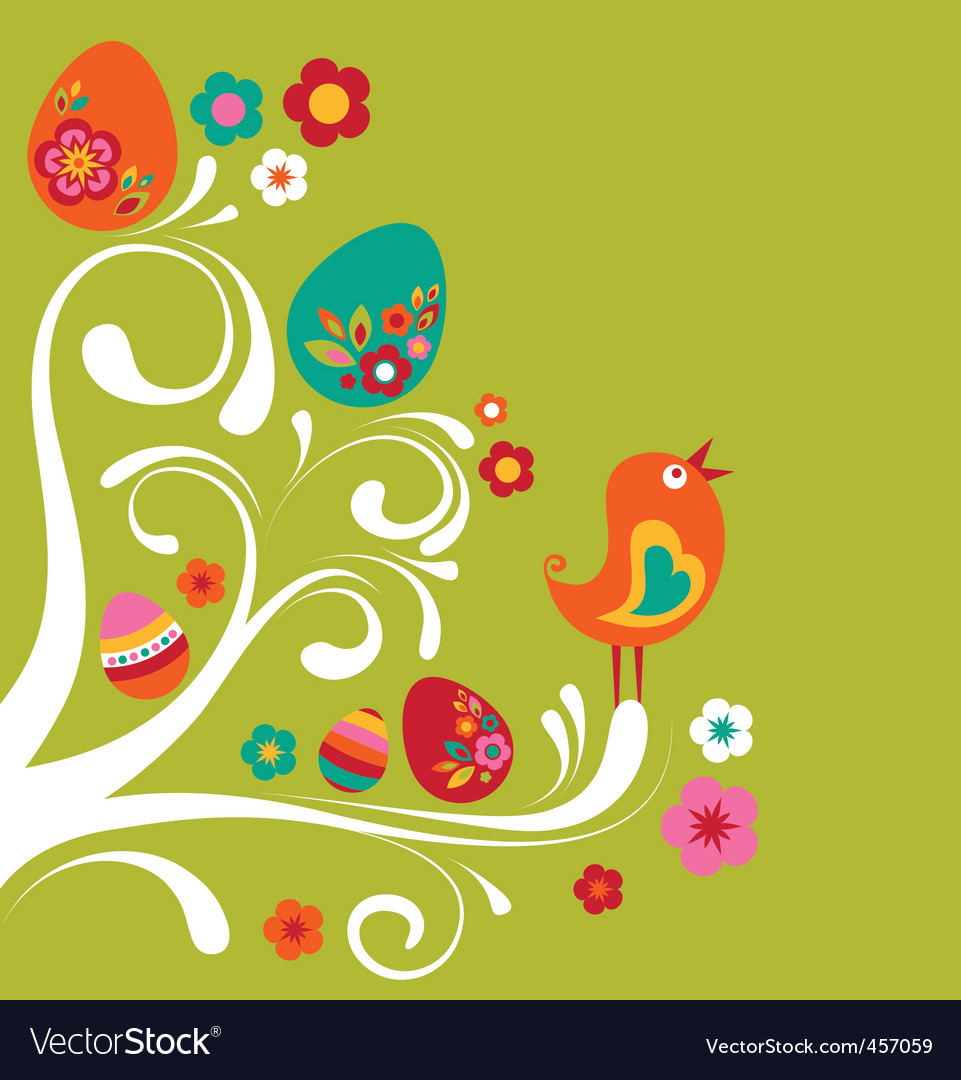 Floral Easter background vector image