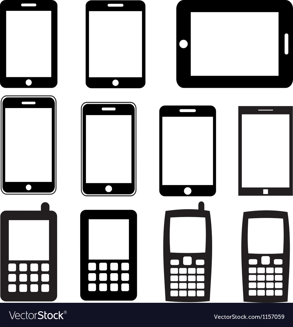 Set of mobile phones and tablets eps 10 vector image