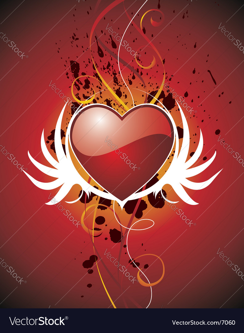 Valentine hearth with wing vector image
