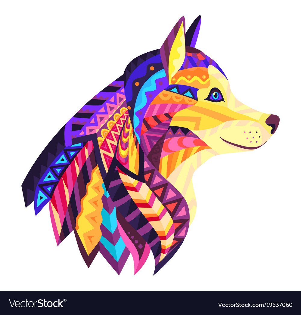 Designer dog with ornament vector image