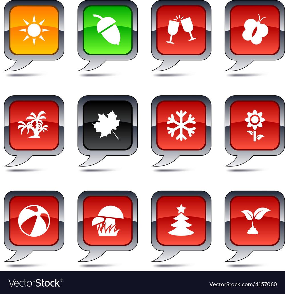 Seasons balloon icons vector image