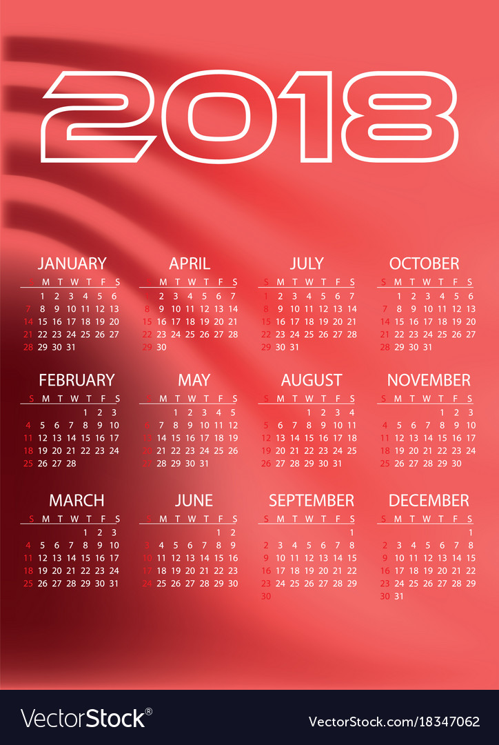 2018 simple business wall calendar red color vector image
