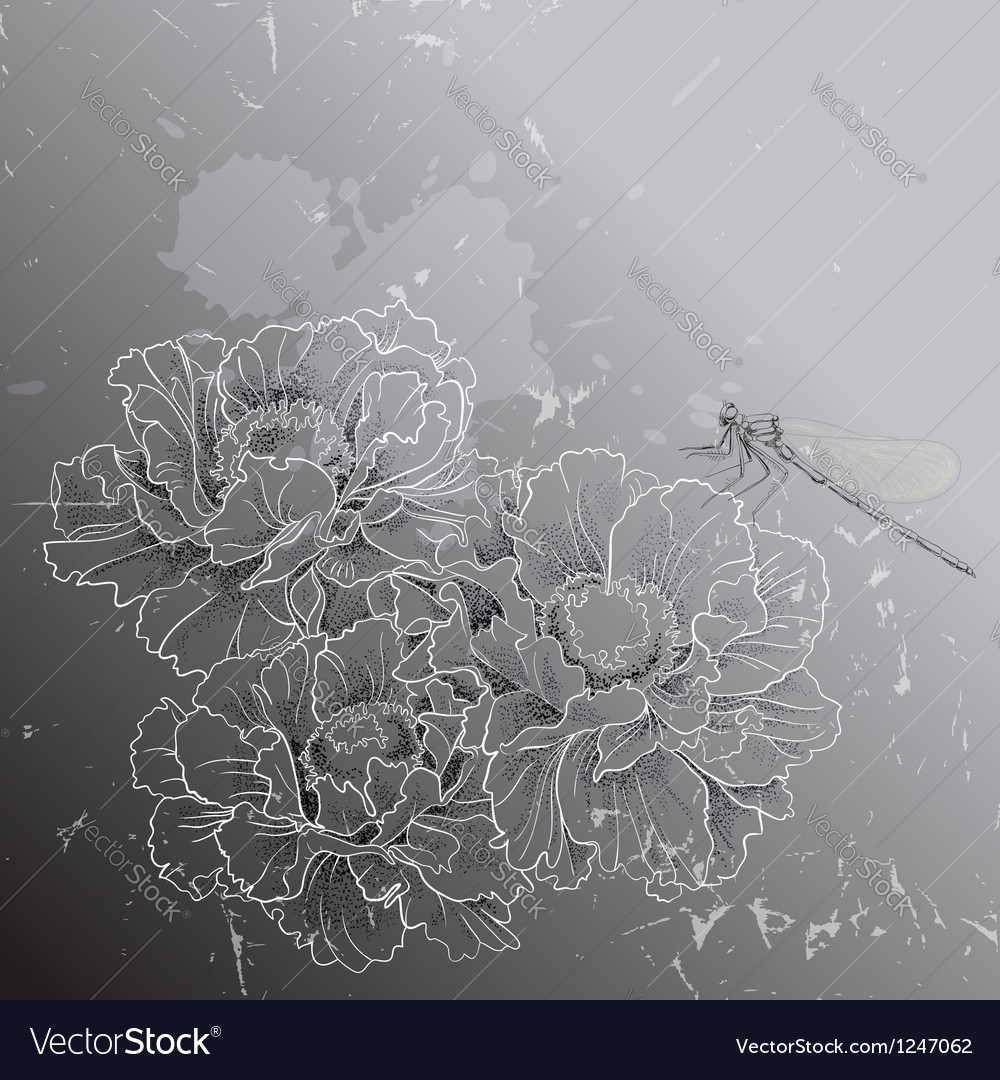 Floral background with peonies and dragon EPS10 vector image