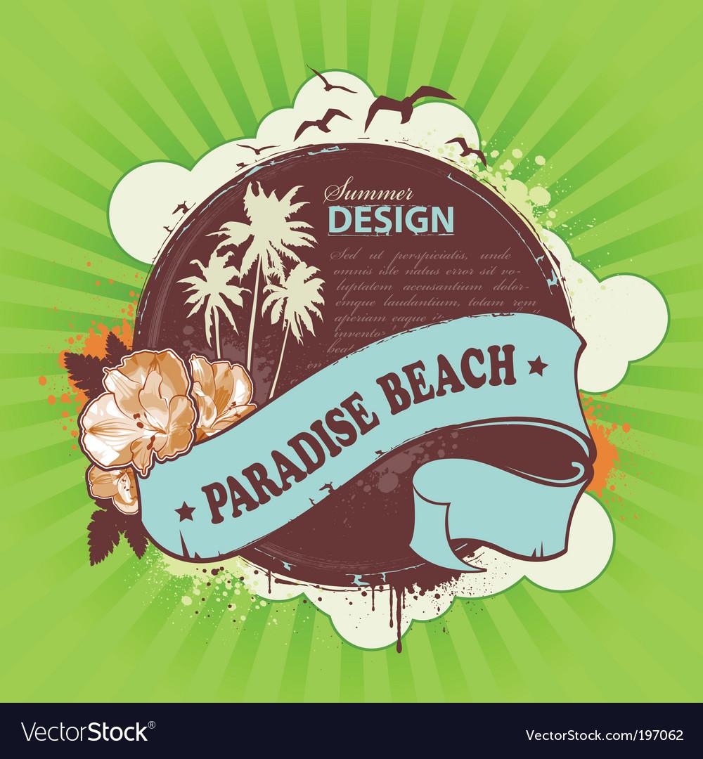 Grunge summer poster vector image