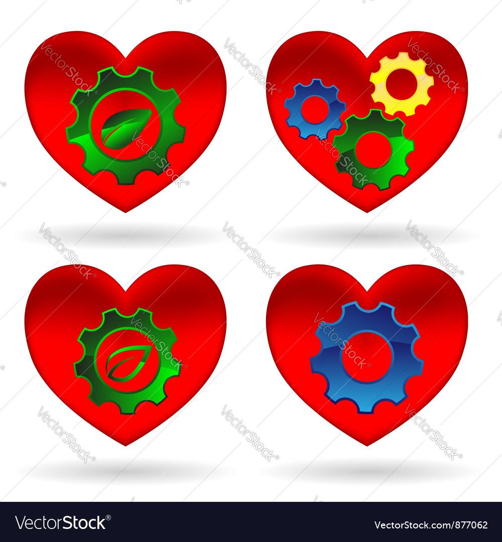 Heart gear green leaf vector image