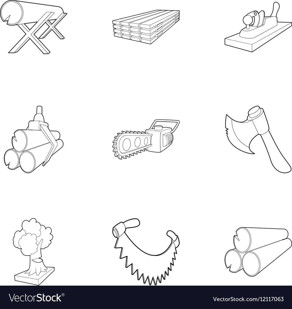 Deforestation icons set outline style vector image