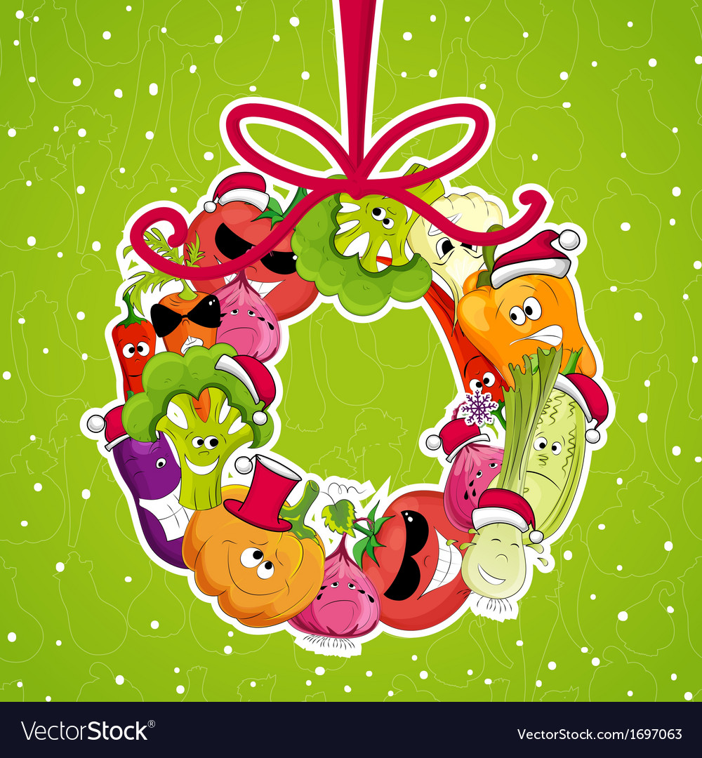 Go vegan card design Christmass vector image
