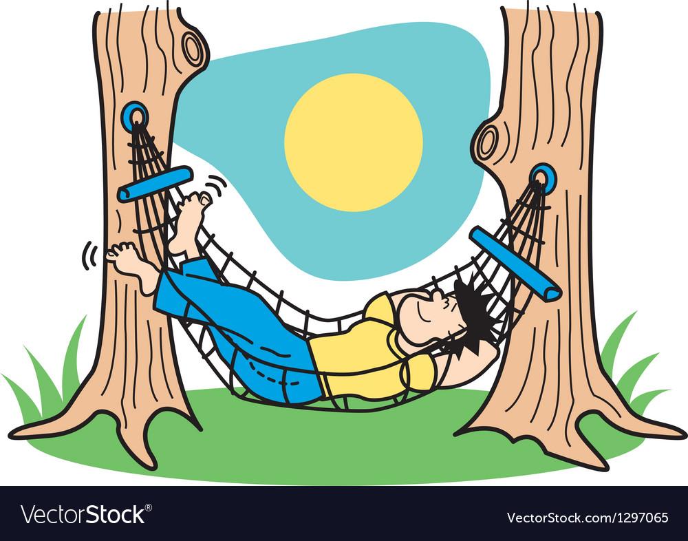Guy in hammock vector image