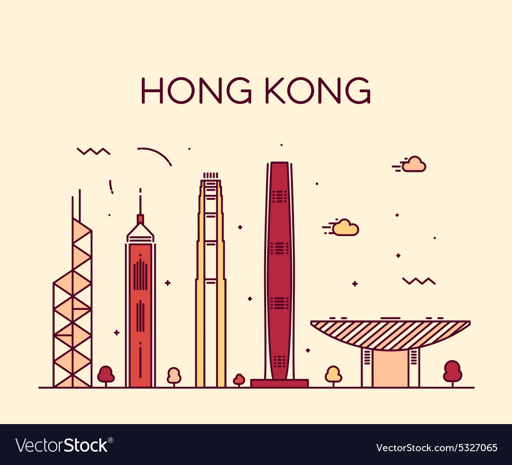 Hong Kong City skyline detailed silhouette vector image