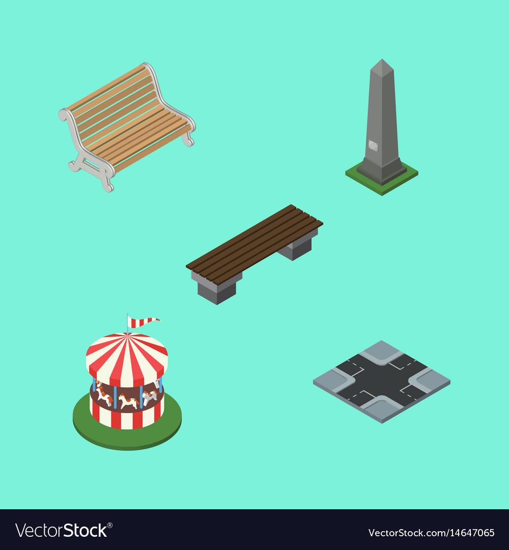 Isometric architecture set of carousel bench vector image