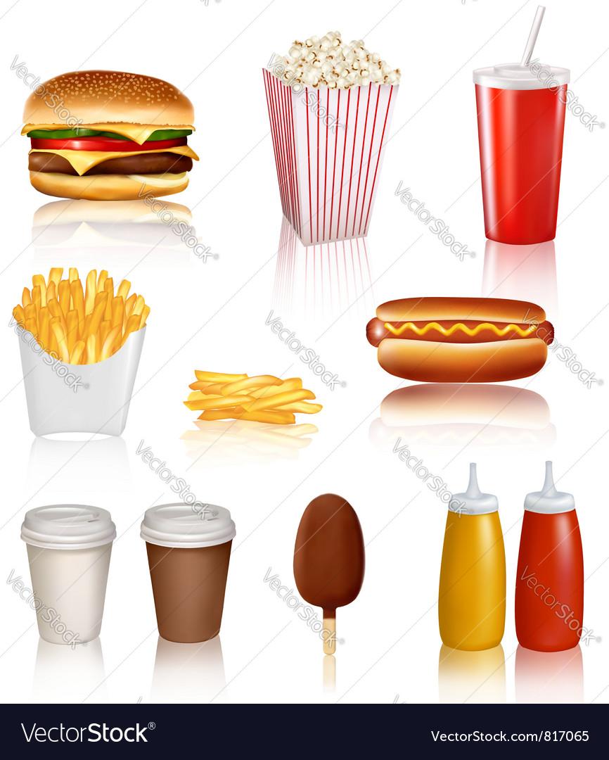Mega set of fastfood vector image