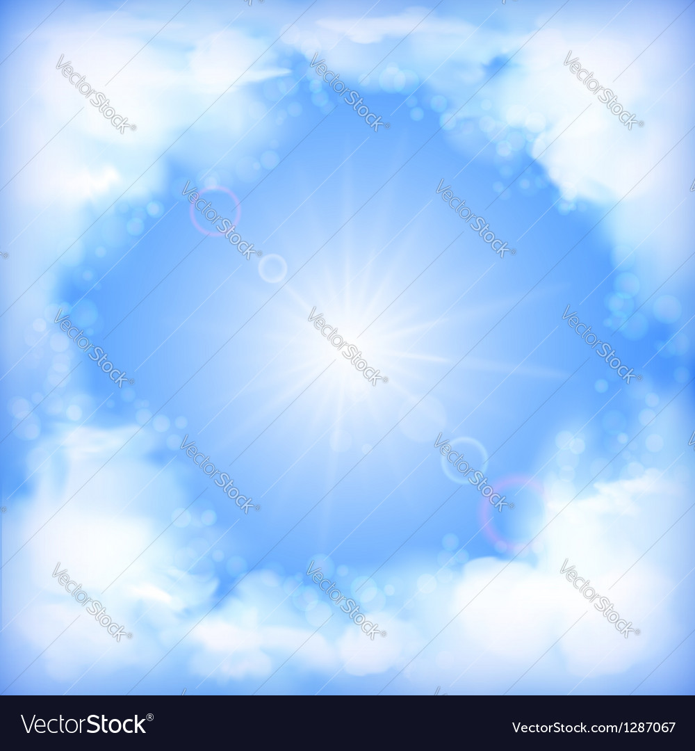 Ky Design White Clouds Sun Blur vector image
