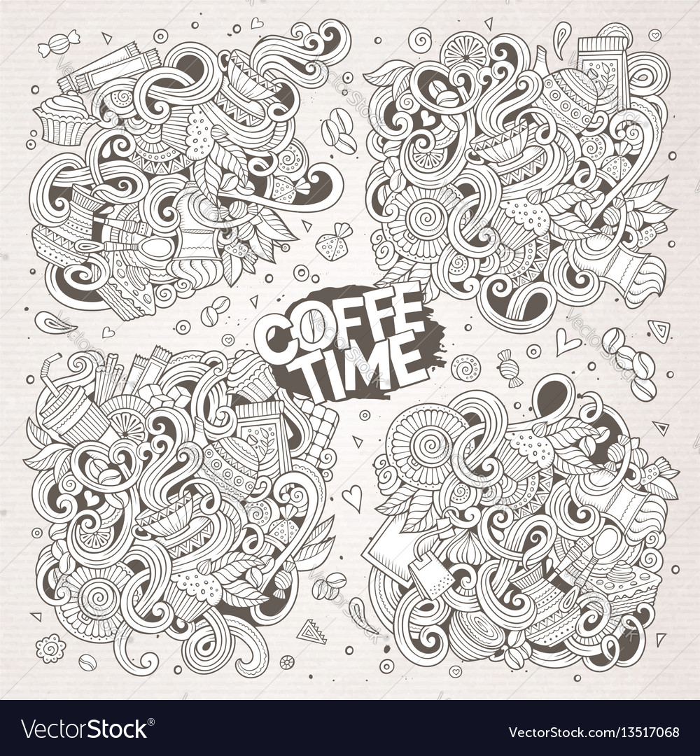 Doodle cartoon set of tea and coffe designs vector image