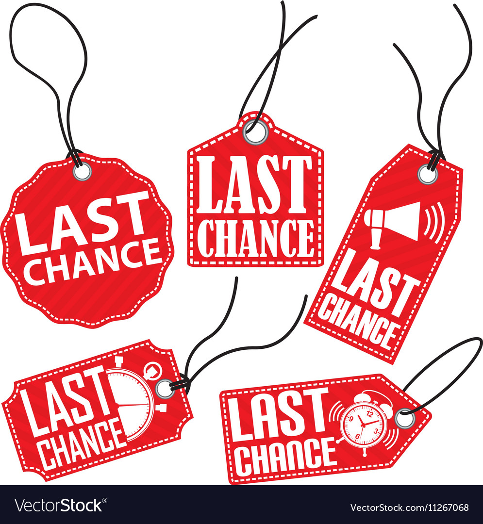 Limited chance red tag set vector image