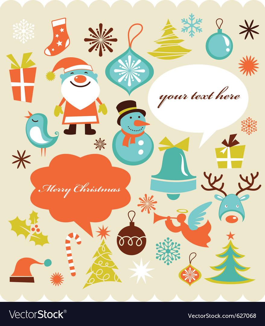 Retro christmas design elements vector image
