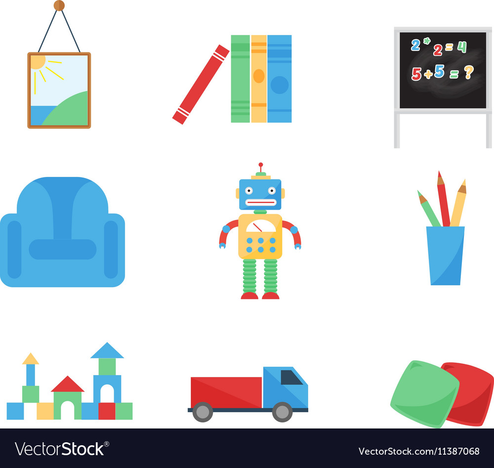 Set of different cartoon toys vector image