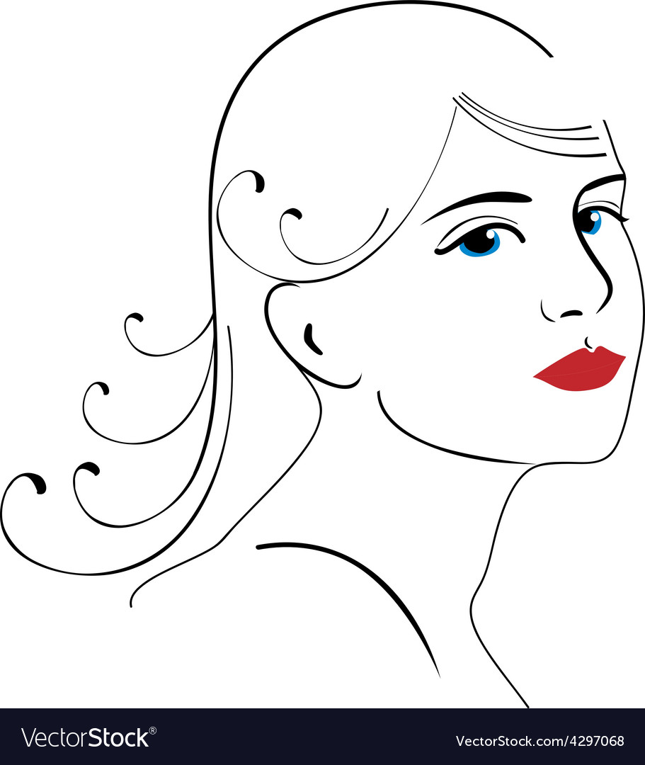 Woman face drawing 3 vector image