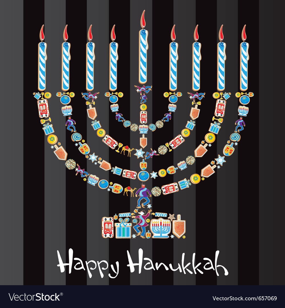 Happy hanukkah cookie menorah vector image