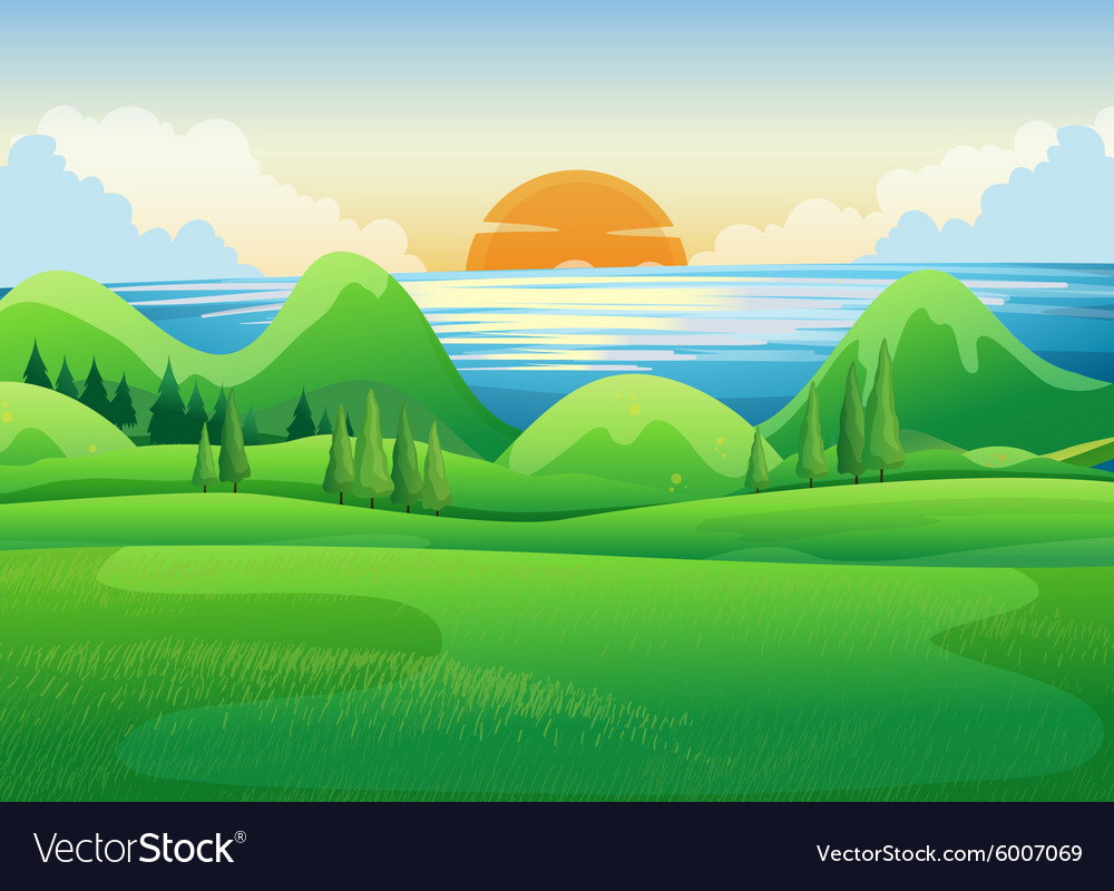 Green field at sunset vector image