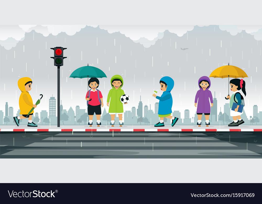Schoolboy wearing raincoat vector image
