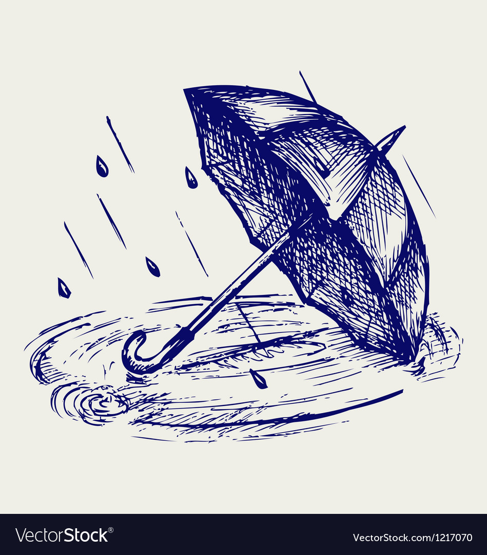 Rain drops rippling in puddle and umbrella vector image