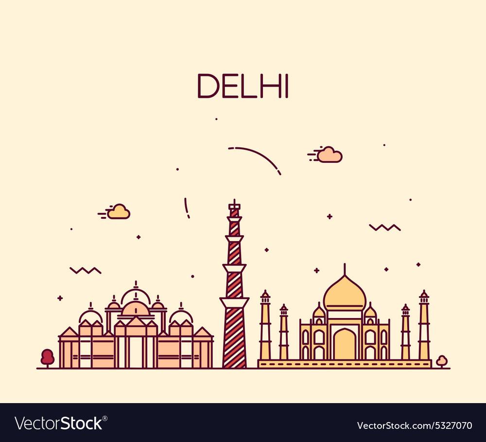 Delhi City skyline Trendy line art vector image
