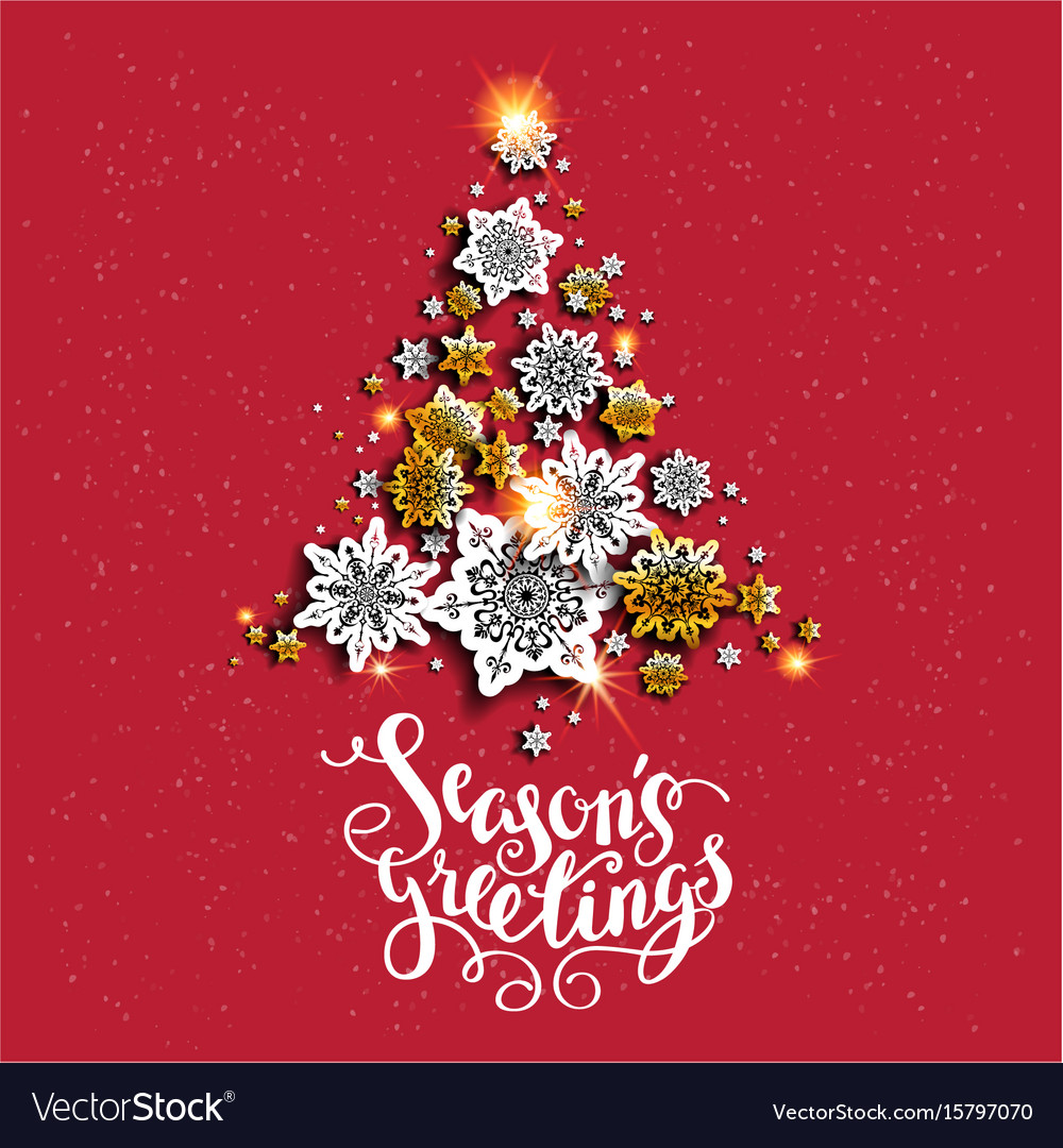 Red background holiday tree vector image