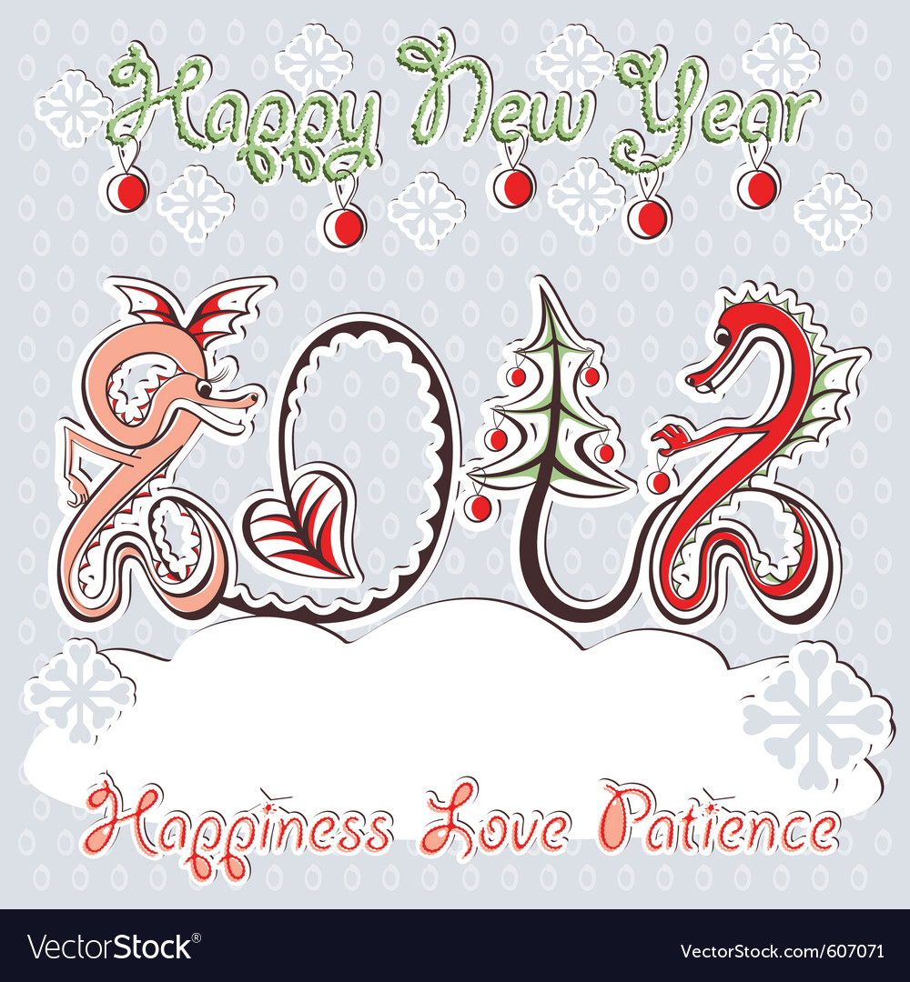 New year 2012 dragons greeting card vector image