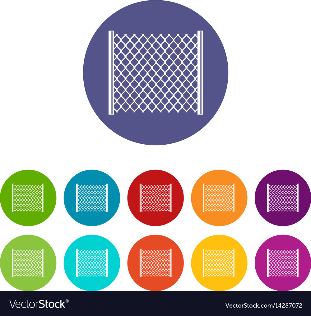 Perforated gate icons set flat vector image