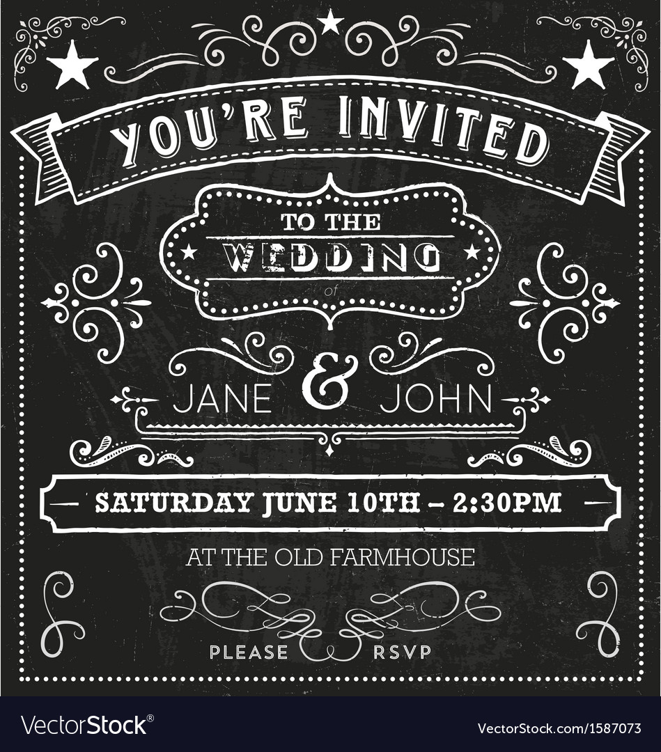 Wedding Chalkboard Invitation Elements Royalty Free Vector Image – Chalkboard Invitation