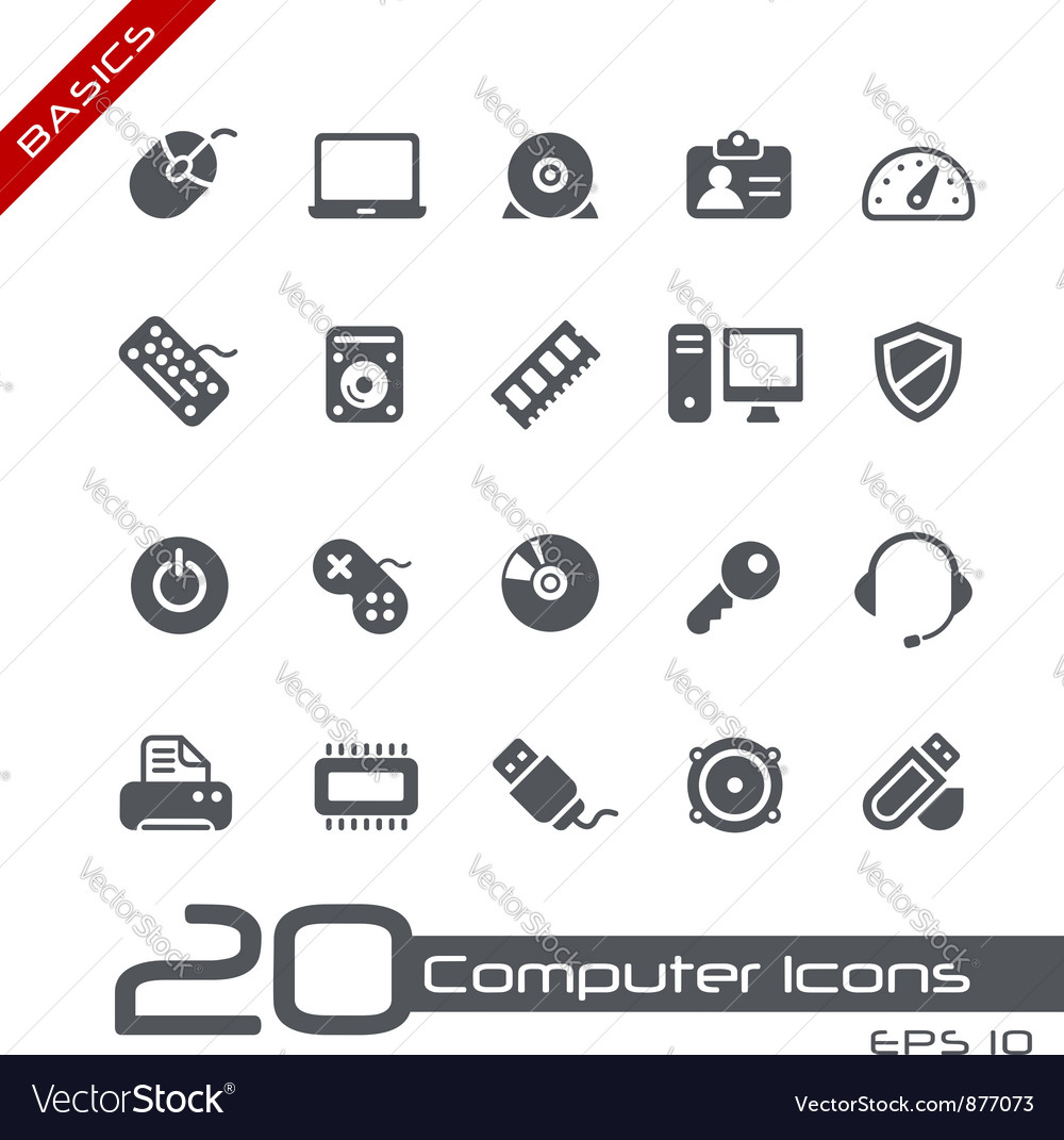 Computer Devices Basics Series vector image