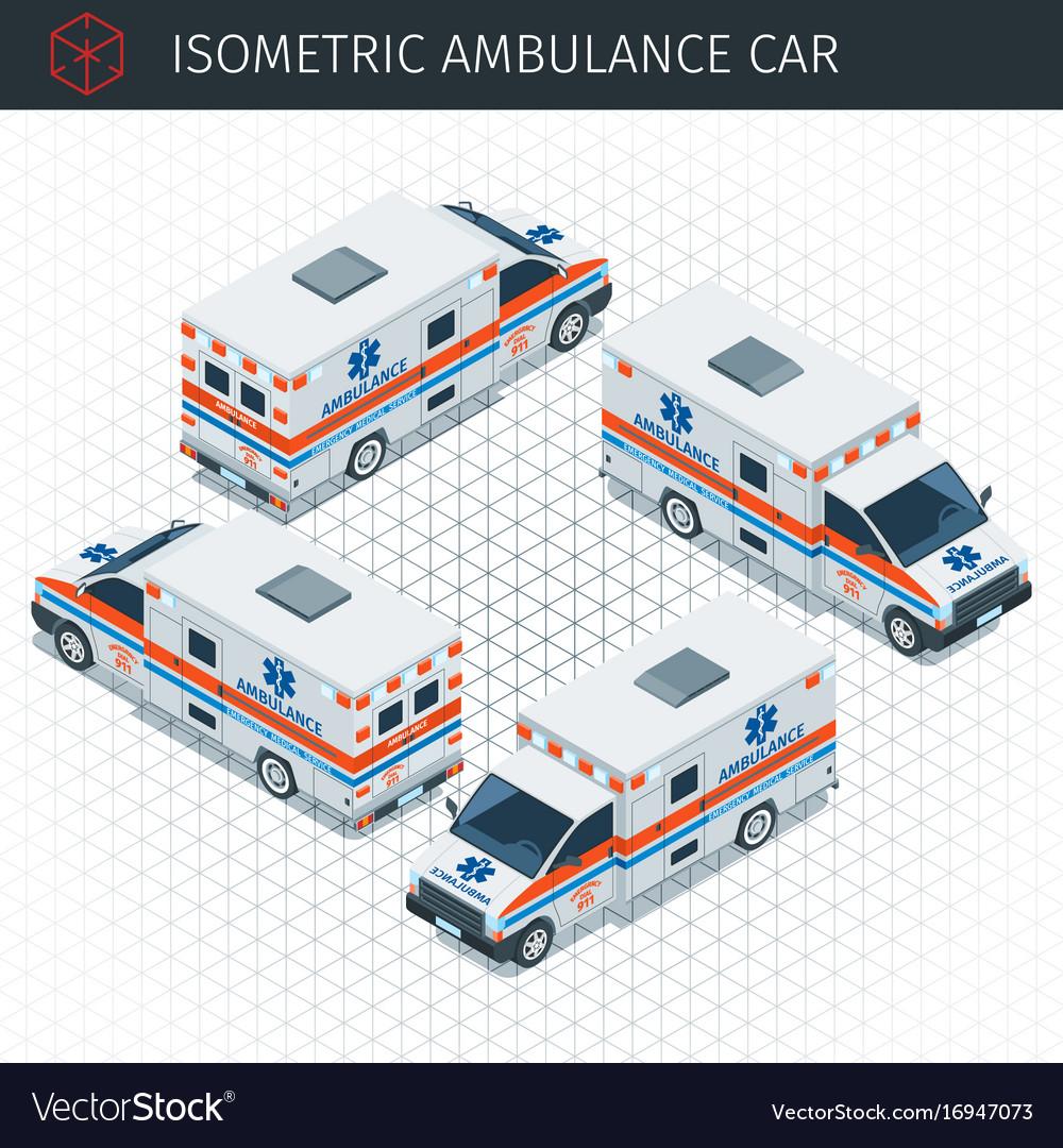 Isometric ambulance car vector image