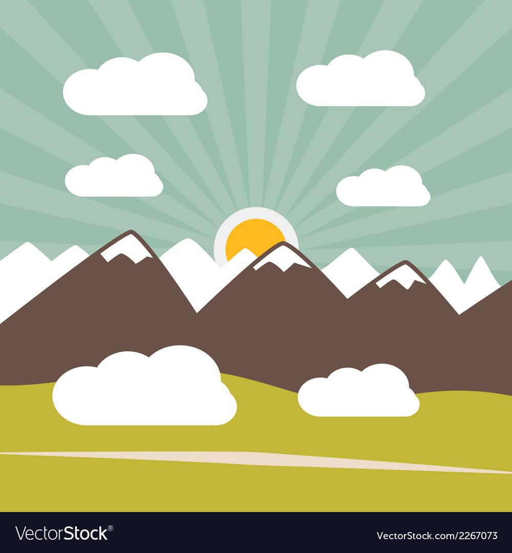 Retro Flat Design Nature Landscape with Sun Hills vector image