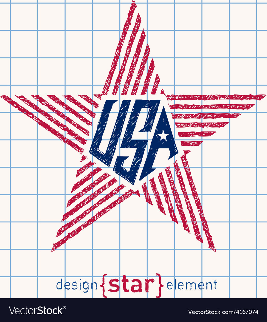 Hand Draw USA star with american flag elements vector image