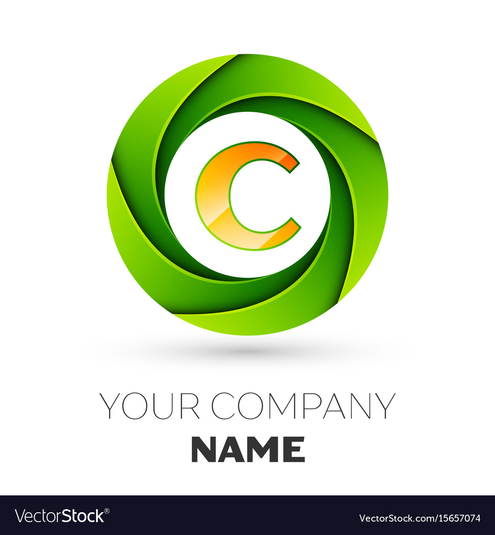 Realistic letter c logo in the colorful circle vector image