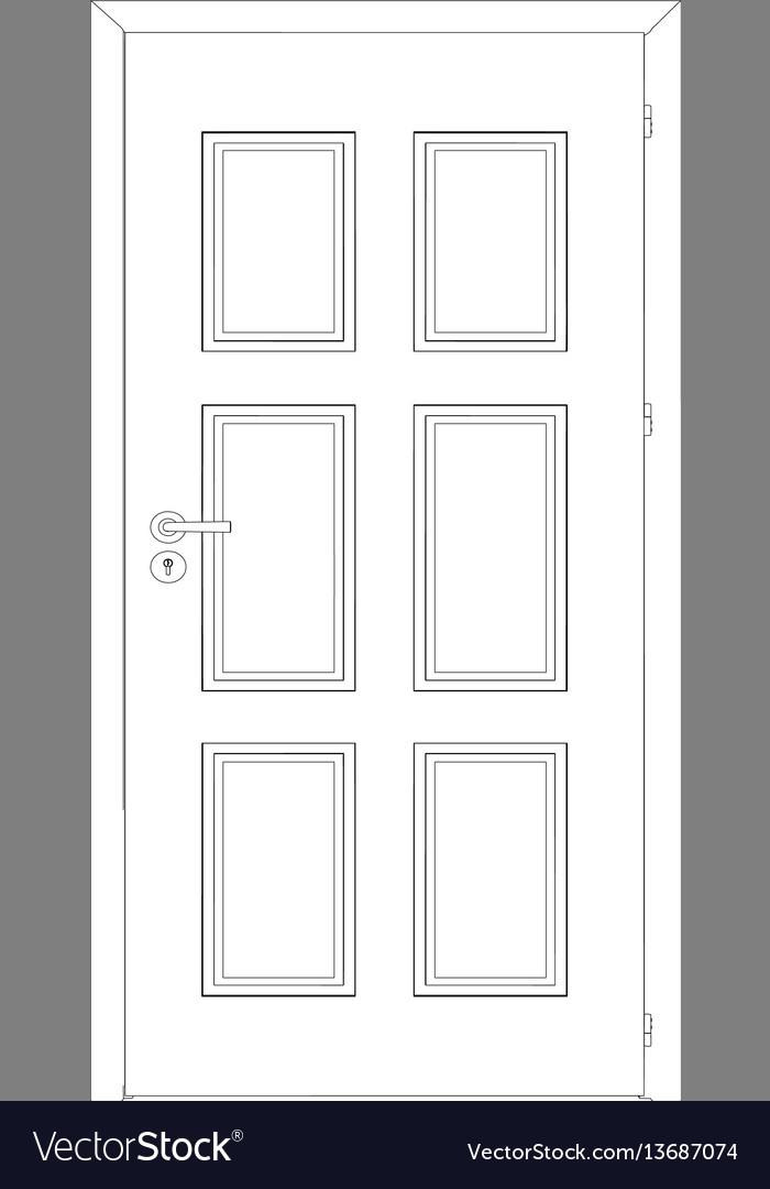 Sketch of closed wire-frame door vector image